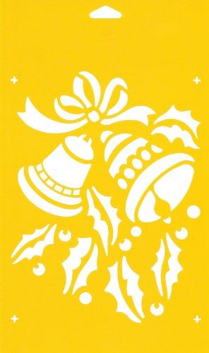 30cm x 17.5cm Pochoir Réutilisable en PCV Plastique Transparent Souple Trace Gabarit - Traçage Illustration Conception de Gâteau Murs Toile Tissu Meubles Décoration Aérographe Airbrush - Cloches Ruban