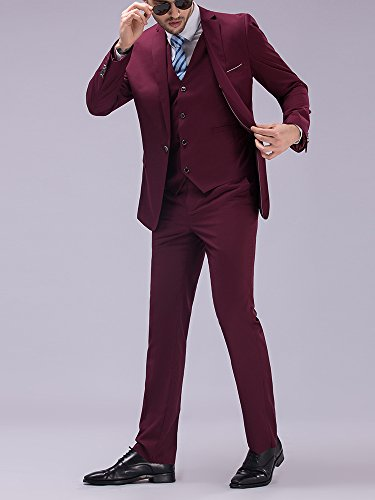 Tsui-Fashion Men's New Work Three Piece One Button Suits XZ00263BD Burgundy
