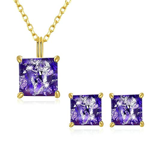 BTETAEF Einfaches Set Quadratische Opale Lila Schmuckset für Damen Mädchen Lila Anhänger Halskette Ohrringe Weihnachten Geburtstagsgeschenk