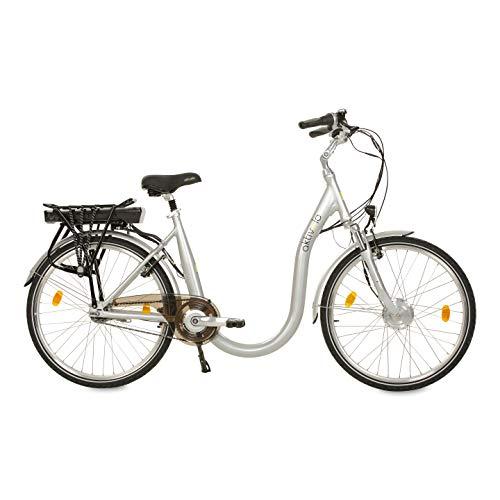 Fahrrad mit tiefem Einstieg, aktivelo Tiefeinsteiger E-Bike, Elektrofahrrad 26 Zoll, 250W, 9 Ah Samsung Akku, 7-Gänge, Alu-Rahmen, LCD-Display, LED-Beleuchtung -