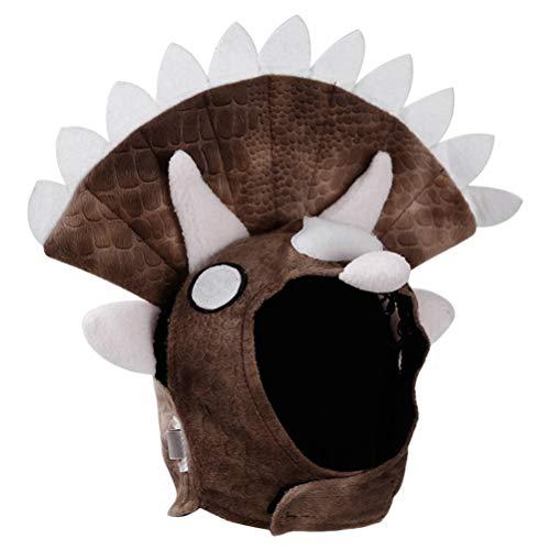 Kostüm Katze Triceratops - POPETPOP Triceratops Hundekostüm Hunde Hut Cap Plüsch Mütze für Katzen Haustier Welpen Weihnachten Party Bekleidung