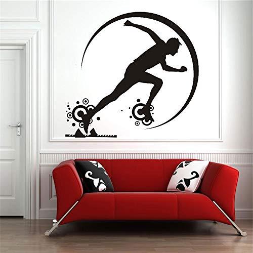Billig Verkauf Benutzerdefinierte Farbe start eines rennens Wandaufkleber Für Kinderzimmer Vinyl Removable Home Decoration Innen Gym Neue Jahr grau 57X71 CM -