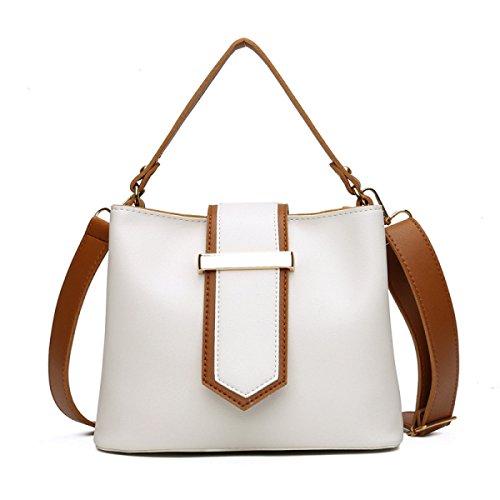 Damen-Mode-Handtaschen-neue PU-Leder-Frauen-einfache Wilde Schulter-Botetasche,White-OneSize (Handtasche Leder Bestickt)
