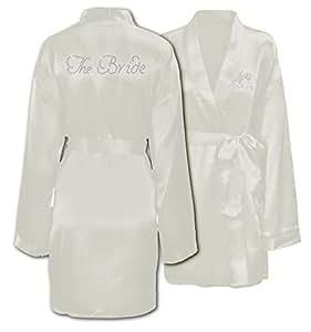 """CrystalsRus - Vestaglia speciale per matrimonio / viaggio di nozze, in satin, personalizzata con la scritta """"The Bride"""" [lingua inglese: la sposa] in strass, Satin, Avorio, can fit between 10 - 18"""