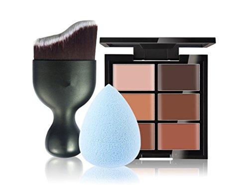JasCherry Pro 1 Pcs Pennelli Trucco #3 + 1 Spugnetta Fondazione Puff + 6 Colori Correttore Cosmetico Camouflage Palette Trucco - Adattabile a Uso Professionale che Privato