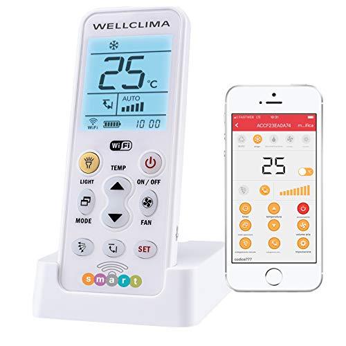 Wellclima smart telecomando universale wi-fi per condizionatore, accensione a distanza e controllo remoto del climatizzatore tramite app gratuita