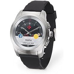 """MyKronoz ZeTime-Orig-Reg-Brushed-SB-Silicon - Reloj Inteligente híbrido con Agujas mecánicas Sobre una Pantalla a Color táctil de 1.22"""", Color Plateado y Negro"""
