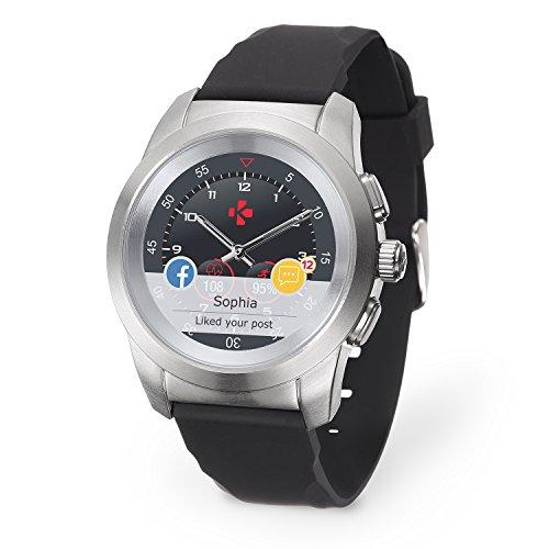 MyKronoz ZeTime-Orig-Reg Smartwatch Ibrido con Lancette Analogiche, Argento Spazzolato/Silicone Nero