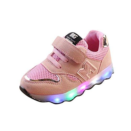 Scarpe da skateboard per bambino&bambina unisex -led scarpe high-maglia led accendere luminoso scarpe da ginnastica sportive da tennis shoes 20-29 -bambine (rosa, eu:29)