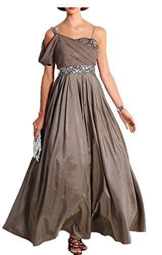 Heine Damen-Abendkleid Ballkleid mit Perlen taupe Gr. 38 (Perlen Taft)