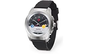 MyKronoz ZeTime Original Hybrid Smartwatch 44mm with mechanical hands over a color touch screen – Brushed Silver/Black Silicon Flat