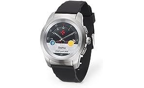 MyKronoz ZeTime Original hybride Smartwatch 44mm mit mechanischen Zeigern über einen runden Farbtouchscreen – Regular Matt Silbern / Schwarz Silikon Glatt