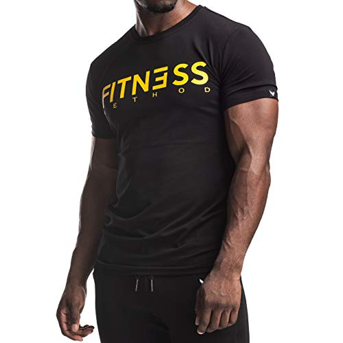 Fitness Method, Sport T-Shirt Herren, Slim-Fit Shirt bequem & hochwertig Männer, Rundhals & Tailliert, Training & Freizeit, Gym & Casual Workout Mann, 95% Baumwolle, 5% Elastan