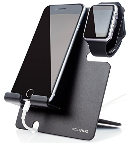 LXORY XStand Apple Watch Stand Und iPhone Dockingstation Alu Für Alle iWatch und Smartphone Modelle – Universal Ladestation Für Zuhause, Büro Und Unterwegs (Schwarz-Schwarz)