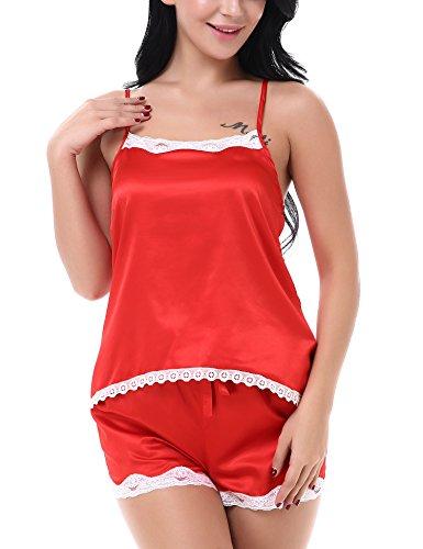 Yulee Damen Nachthemd Schlafanzug Nachtwäsche Set Rot