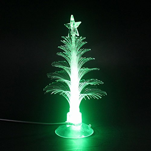 LED Mini USB Powered 7 colori Fibre Ottiche stagionale Albero di Natale con top star Light per Merry Christmas Holiday Decor Time for NOTEBOOK desktop- (di cambiamento di colore)