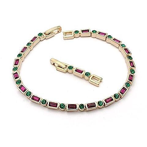 Swarovski Elements Bracelet 18ct Gold Finish - cadeau idéal pour les femmes et les filles - Livré dans une boîte-cadeau
