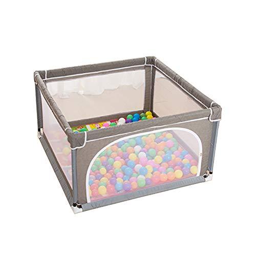 Parc pour Bébé avec Balles Et Matelas, Toddlers Grey Play Yard, Séparation De Pièce, Barrière De Jeu À 4 Panneaux, 120 × 120cm