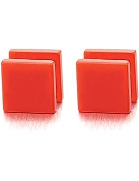 8-10MM Bunter Orange Quadrat Herren Damen Ohrstecker Ohrringe Fake Ohr-Plugs Tunnel Gauges Ohr-Piercing