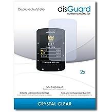 2 x disGuard Crystal Clear Lámina de protección para Garmin Edge 520 - ¡Protección de pantalla cristalina con recubrimiento duro! CALIDAD PREMIUM - Made in Germany