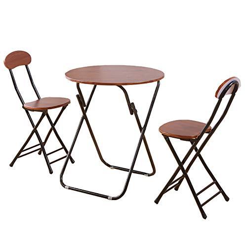 YXX- Küche Runde Klapp Esstisch Stuhl Set 3 Garten Braun Holz Kaffee & Tee & Computer Schreibtisch, (1 Tisch + 2 Stühle) (größe : 80x80x71cm) -