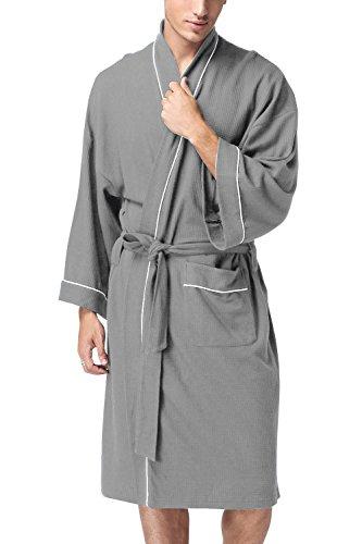 Herren Morgenmantel Bademäntel, Weich u. Leicht Baumwolle Waffelpique Nachtwäsche Nachthemd Robe Negligee locker Schlafanzug, für Spa Hotel Sauna, 1 pcs (X-Large, Grau) (Herren Robe)