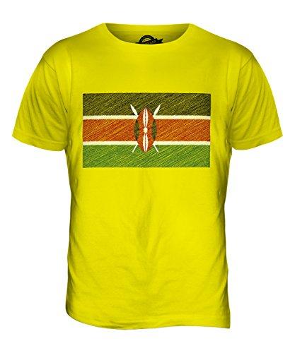 CandyMix Kenia Kritzelte Flagge Herren T Shirt Zitronengelb