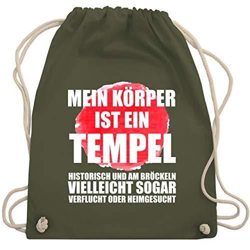 Sprüche - Mein Körper ist ein Tempel - Unisize - Olivgrün - WM110 - Turnbeutel & Gym Bag