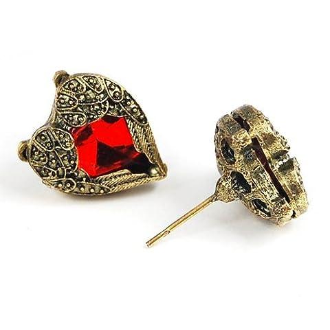 Gleader Une paire de puces d'oreilles/poussettes antiques en pierre artificielle rouge Forme de