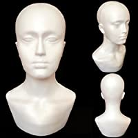 Polystyrene Unisex Male Female Foam Display Mannequin Head Dummy Wig Stand Hats Display Holder for Accessories, Sun Glasses Multipurpose
