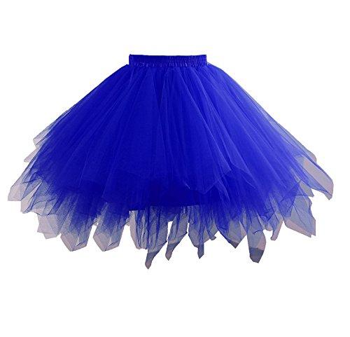 Changuan Frauen Vintage kurze Petticoat Rock Ballett Bubble Tutu mehrfarbige Pettiskirt Größe S /M (Kleid Kurzes Blaues Handschuhe)