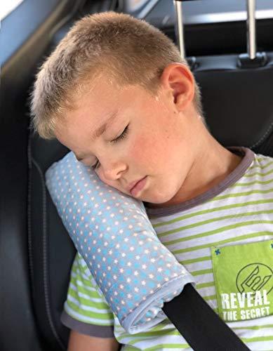 HECKBO Sterne Gurtkissen Gurtpolster für Kinder - maschinenwaschbar – super weich - hochwertiges Auto Schlafkissen · Gurtkissen Gurtschutz - 30cmx12cm