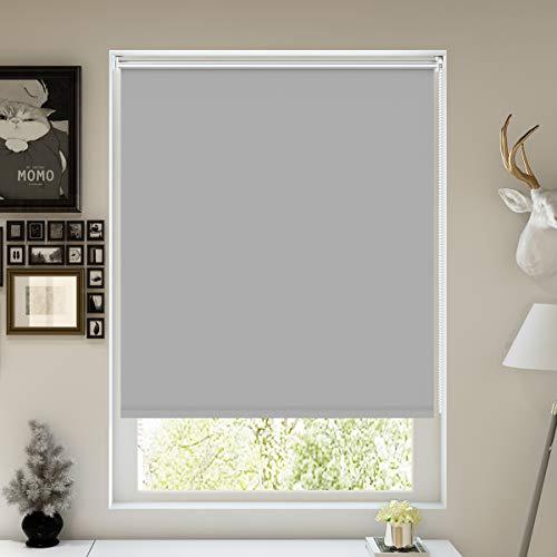 Nisso Verdunklungsrollo Klemmfix Rollos für Fenster ohne Bohren Thermorollo / 16mm Welle / 100x170cm (BxH) in Hellgrau - Lichtundurchlässig Rollo Sonnenschutz mit Zubehör (ohne & zum Bohren)