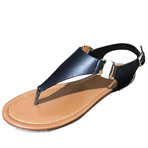 Frauen Gladiator Sandalen Slip-On Römische Wohnungen Mode Riemen Schnalle T Riemen Sommer Strand Schuhe Runde Kappe Rutschfeste Flip-Flops