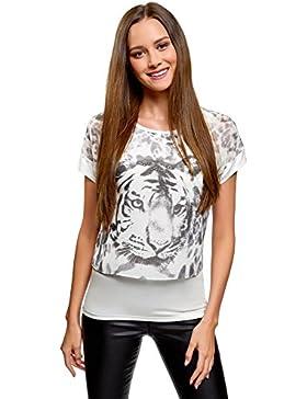 oodji Collection Mujer Blusa Combinada con Estampado