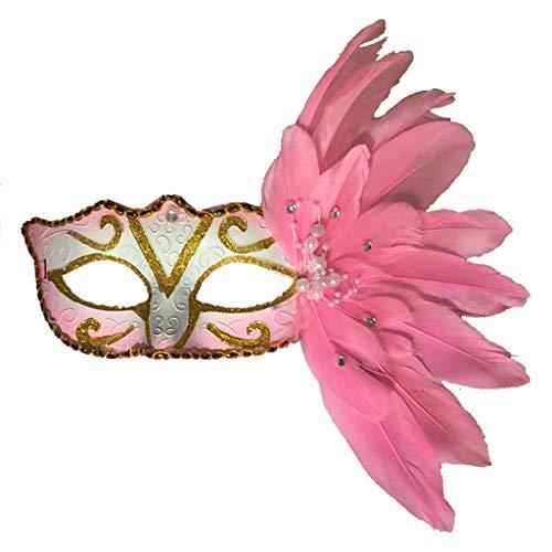 Frauen Venezianischen Maskerade Kostüm - Foroner Frauen venezianische Maske Maskerade Kostüm Party Prinzessin Feder Masken (Rosa)