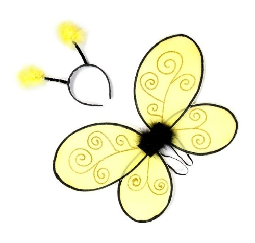 Trullala Bienenflügel-Set mit Fühlern, Bienenkostüm, 40 cm, in gelb