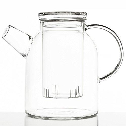 Dimono® Théière jumbo XXL en verre de borosilicate avec passoire à thé 1800 ml