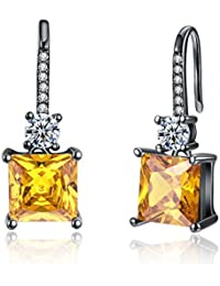 Yellow Chimes A5 Grade Yellow Crystal Black Gun Plated Drop Earrings for Women & Girls