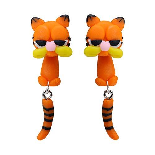 YueLian 1 Paar Handgemachter Katze-Ohrschmuck Frauen Mädchen Ohrringe Tiere Fimo Ohrstecker Ton Weiche Keramik Ohrringe -