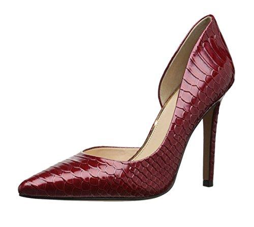 uBeauty,Damen Schlangen Muster Pumps,High Heels Trendfarben Wein