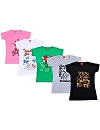 Ezee Sleeves Girl's Combo Cotton Tshirt Pack of 5