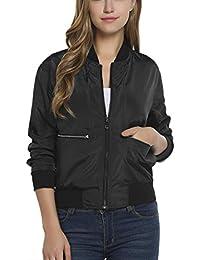 Keland Chaquetas de Mujer Cazadora Bomber Corta Jacket con Diseño Vintage
