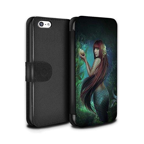 Officiel Elena Dudina Coque/Etui/Housse Cuir PU Case/Cover pour Apple iPhone 5C / Poissons d'Or Design / Agua de Vida Collection Sirène/Shell