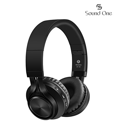 Sound One BT-06 Bluetooth Headphones Build in Microphone  with SD Card Function /FM Radio and Extra Audio Cable, Wireless Headphones (Black)