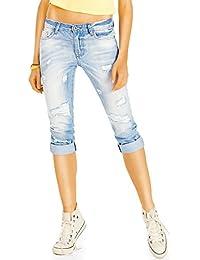 Bestyledberlin kurze Damen Jeans Relaxed Fit, Zerrissene 3/4-lange Hosen, Sommerlich maritime Capri-Jeans j11k