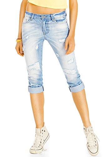 Bestyledberlin kurze Damen Jeans Relaxed Fit, Zerrissene 3/4-lange Hosen, Sommerlich maritime Capri-Jeans j11k 36/S
