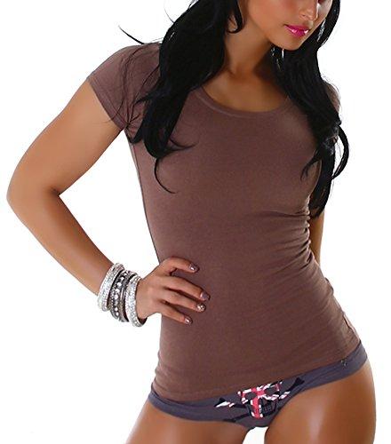 JL Stretchy Basic Rundhals Shirt, Brown M