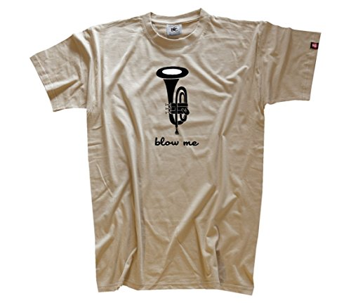 'Shirtzshop–Maglietta da uomo Blow Me Tromba trumpet beige