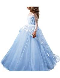 Vestido de niña de flores para la boda Niñas Niños Largo Gala cumpleaños Encaje De Ceremonia Fiesta Elegantes Comunión Paseo Baile Pageant Damas De Honor Coctel Vacaciones Noche Vestido De Princesa